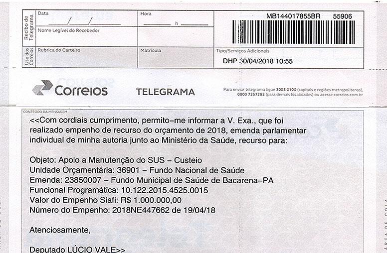 Emenda Parlamentar Deputado Lúcio Vale