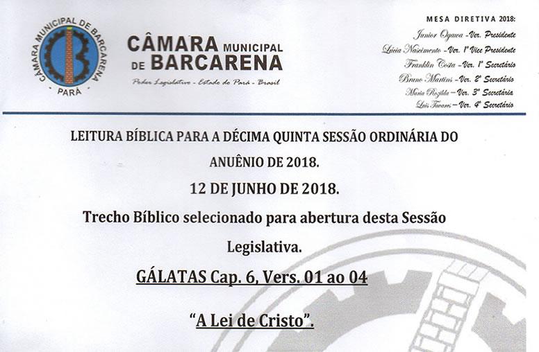 Leitura Bíblica da 15ª Sessão Ordinária
